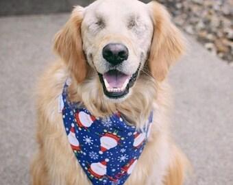 Holiday Santa Snowflakes Dog Bandana    Personalized Reversible Holiday Pet Scarf    CustomPuppy Gift by Three Spoiled Dogs