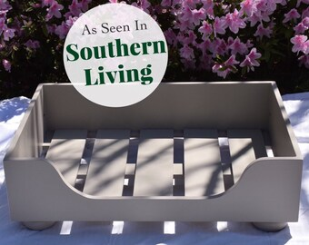 Wood Dog Bed Frame As Seen in Southern Living Magazine || Small Designer Wooden Bed WITHOUT Cushion || Made in USA by Three Spoiled Dogs