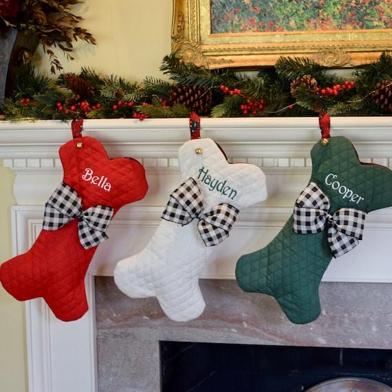 Dog Bone Christmas Stocking.Personalized Dog Bone Christmas Stockings Dog Bone Stocking Personalize Pet Stocking Personalized Stockings In Red Green Or Winter White