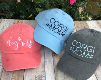 Dog Mom Hat with Paw Prints   Dog Mom Baseball Cap   Custom Dog Lover Gift   Corgi   Golden   Lab   Personalized Gifts by Three Spoiled Dogs