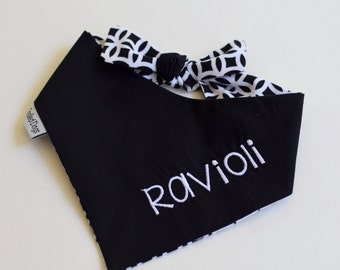 Personalized Black White Pet Bandana - Dog Classic Tie -  Personalized Puppy Gift by Three Spoiled Dogs