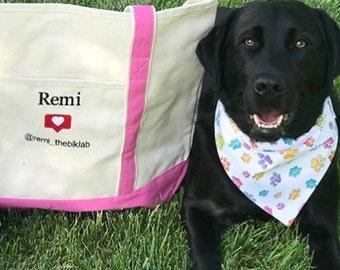 Pet Tote Bag, Canvas Bag for Dog, Dog Tote Bag, Canvas Bag, Dog Lover Gift, Large Natural Canvas Tote with Instagram Monogram, Book Bag