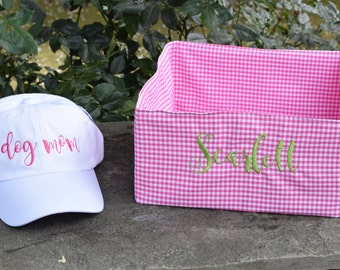 Personalized Pink Gingham Dog Toy Basket