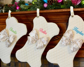 Personalized Dog Bone Pet Christmas Stocking || Non Traditional Colors || Holiday Stocking || Gift by Three Spoiled Dogs