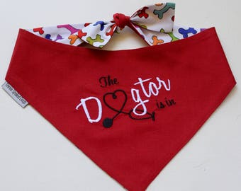 Dog Scarf, Dog Bandana, Personalized Dog Bandana with Dogtor, Size Extra Extra Small to Extra Large, Reversible, Pet Accessories