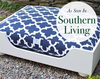 Wooden Dog Bed || As seen in Southern Living Magazine || Large Designer Custom Wood Bed || Hand Made  in NC  by Three Spoiled Dogs