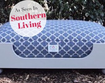 Wood Dog Bed -Large  Luxury Raised Pet Bed - As seen in Southern Living Magazine - Personalized and Hand Made in NC  by Three Spoiled Dogs