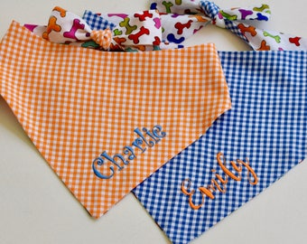 Personalized Blue Gingham Dog Bandana - Reversible Bones Pet Scarf | Best Custom Dog Lover Gifts by Three Spoiled Dogs