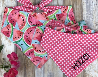Personalized Watermelon Dog Bandana - Reversible Pet Scarf -  The Best Custom Puppy Dog Gifts by Three Spoiled Dogs