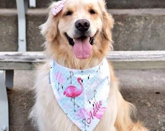 Personalized Pink Flamingos Dog Bandana -  Reversible Pet Bandanas | Best Custom Puppy Dog Gift by Three Spoiled Dogs