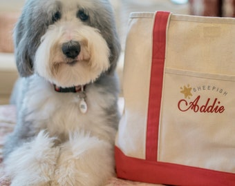 Personalized Canvas Tote - Large Natural Canvas Bag with Instagram Name - Monogram - Perfect Dog Bag - Gift by Three Spoiled Dogs