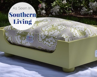 Wooden Dog Bed || Small Medium || As seen in Southern Living Magazine || Designer Custom Wood Bed || Hand Made in NC by Three Spoiled Dogs