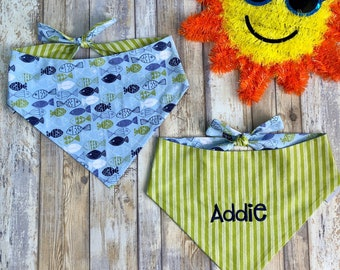 Summer Dog Bandana, Personalized Dog Bandana, Dog Neckerchief, Reversible with Fish Pattern and Opposite Side Stripes, Blues and Greens