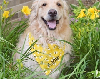 Summer Dog Bandana, Personalized Dog Bandana, Dog Neckerchief, Reversible with Bumble Bees and Opposite Side Dots, Orange and Yellow