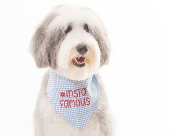 Insta Famous on Blue Gingham Bandana || Reversible Dog Bones Classic Tie Pet Scarf || Puppy Gift by Three Spoiled Dogs