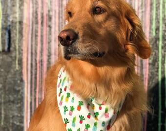 Dog Bandana, Dog Scarf, Dog Bandana with Cactus, Reversible White Pet Scarf, Chevron Pet Bandana, Best Puppy Dog Gifts by Three Spoiled Dogs