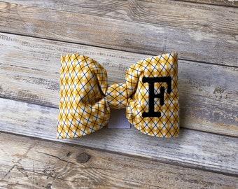 Monogram Dog Bow Tie Argyle Yellow & White    Personalized Preppy Bowtie    Custom Gift by Three Spoiled Dogs