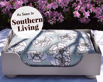 Large Wood Dog Bed - As seen in Southern Living Magazine - Designer Custom Wooden Dog Bed || Hand Made in NC by Three Spoiled Dogs