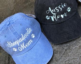 Dog Mom Baseball Cap - Handwriting and Paw Prints Baseball Cap