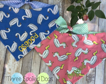 Personalized Swan Float Dog Bandana  - Blue Reversible Pet Bandana - The Best Custom Puppy Dog Gifts by Three Spoiled Dogs