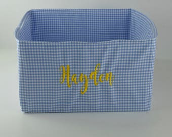 Personalized Blue Gingham Toy Basket  - Puppy Dog Treat and Toy Bin -  Best Custom Gifts by Three Spoiled Dogs