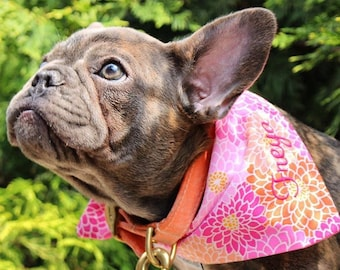 Personalized Pet Bandana, Pet Scarf, Dog Bandana, Dog Bandana with Pink Flowers,