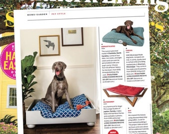 Wood Dog Bed Frame || As Seen in Southern Living Magazine || Designer Wooden Pet Bed with Cushion || Made in USA by Three Spoiled Dogs