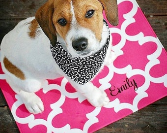 Personalized Dog Food Mat     Water Resistant Quatrefoil Pet Placemat for Food and Water Bowls