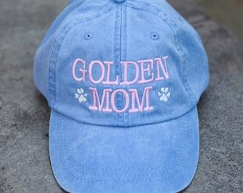 Golden Dog Mom Handwriting Baseball Cap