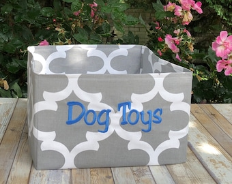 Personalized Dog Toy Basket | Gray Quatrefoil Pet Toy Bin | Best Custom Puppy Gifts by Three Spoiled Dogs