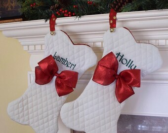 Christmas Stocking for Pets    Personalized Dog Bone Fish with Jingle Bell    Traditional Holiday Stocking    Gift Three Spoiled Dogs