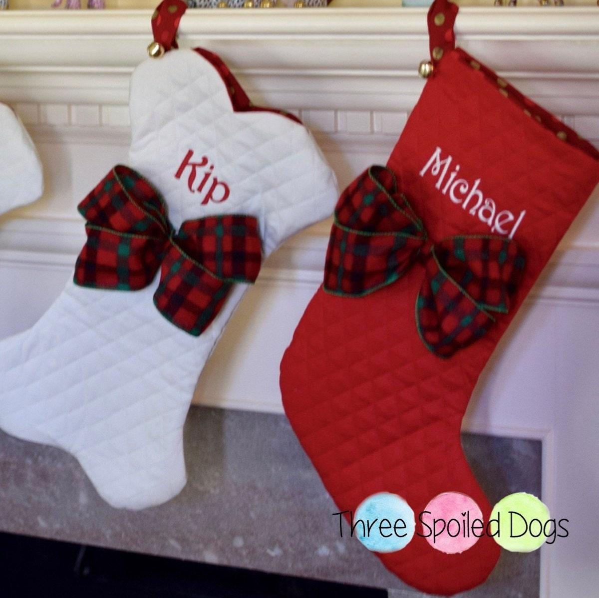 Dog Bone Christmas Stocking.Personalized Dog Bone Christmas Stockings Dog Bone Stocking