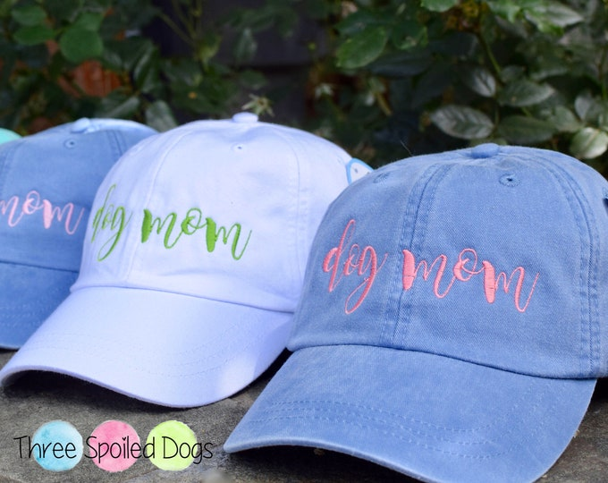 Featured listing image: Dog Mom Baseball Cap - The Best Dog Mom Embroidered Baseball Caps   Custom Monogram Puppy Dog Gifts by Three Spoiled Dogs