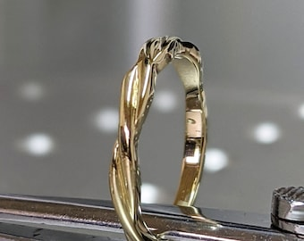 14k Twist Band 1.75mm Solid ROSE Gold Braided Stacker Ring Twisted Design SOLID 14K Sizing Bar In Stock Various Size Available FREE Shipping
