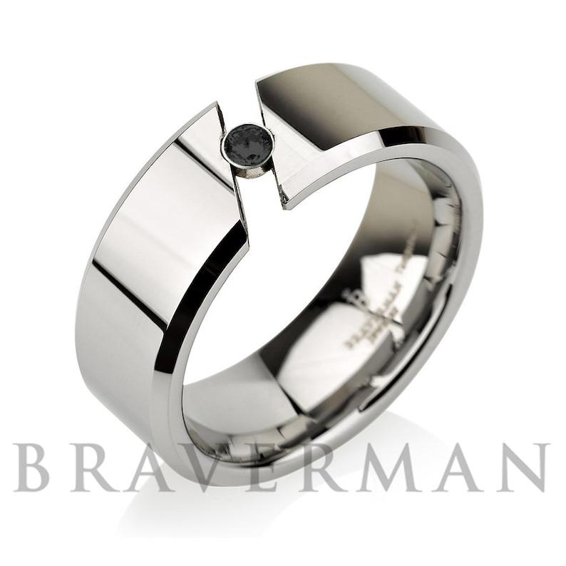 Tension Black Diamond Men Tungsten Wedding Band,Tension Setting Man Tungsten Wedding Ring,Birthstone,Engagement Ring,His,Hers,Comfort Fit