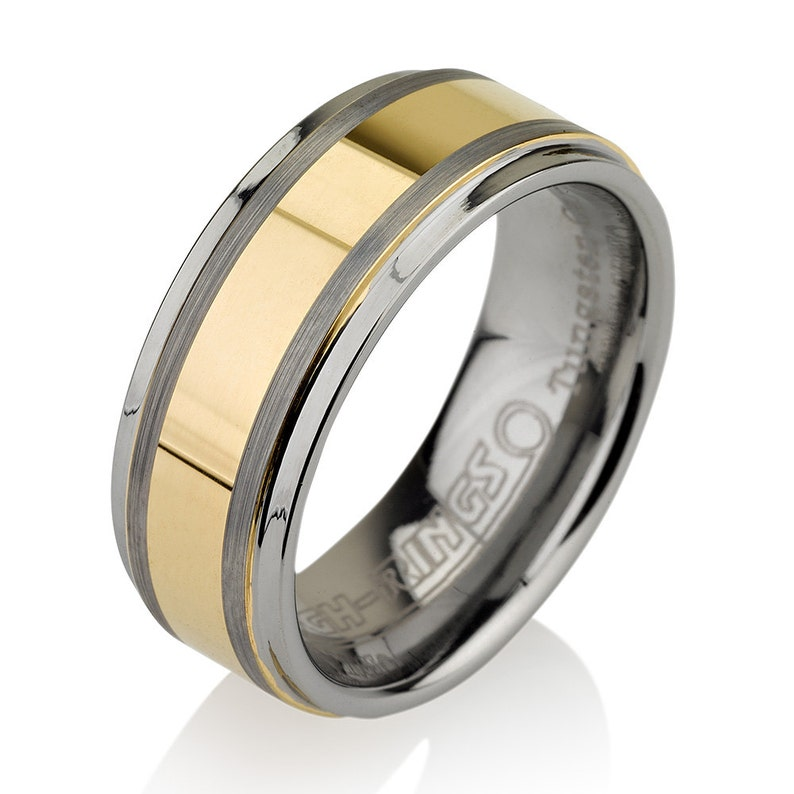 Gold Tungsten Band Tungsten Wedding Bands Two Tone Ring Mens Wedding Rings FREE Laser Engraving Gold Band SALE Mens Wedding Bands