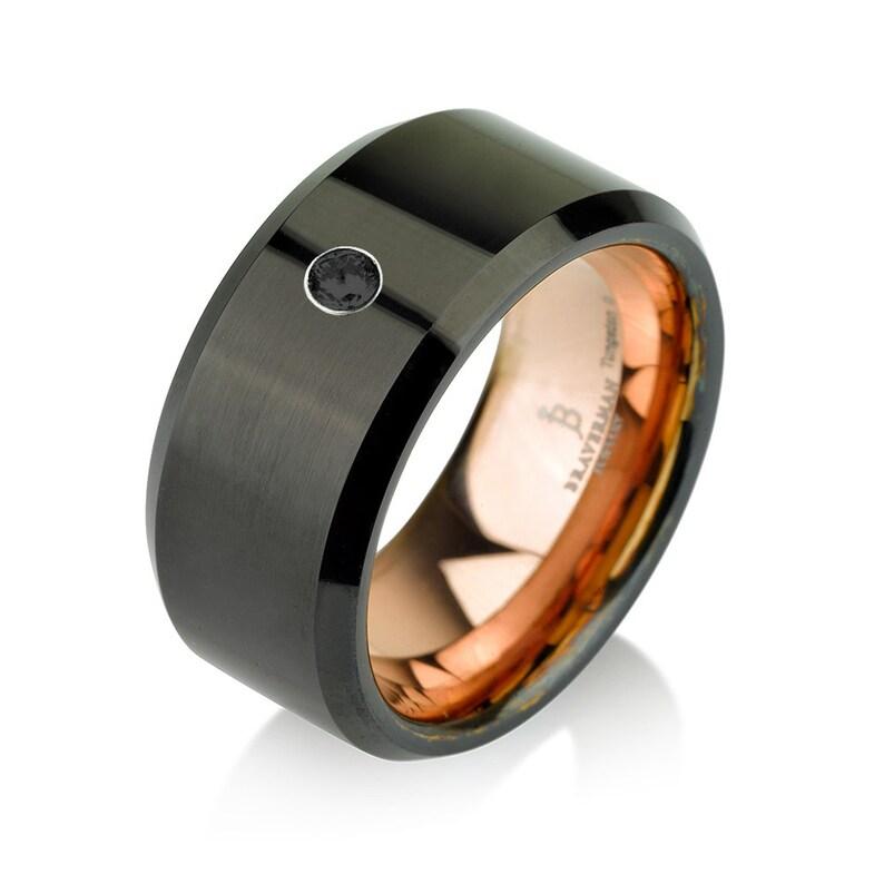 Black Tungsten Ring Rose Gold Wedding Band Rose Gold Black Band 10mm 14K Tungsten Ring Man Wedding Band Black Diamond Mens Wedding Band