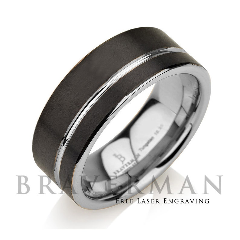Two Tone Racing Silver Stripe Stainless Steel 8mm Men/'s Wedding Band Ring
