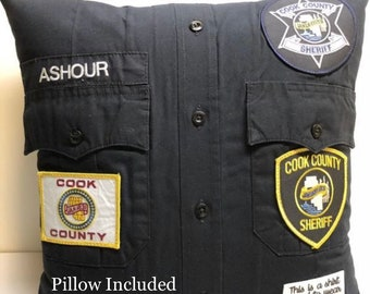 Custom uniform Pillow with pillow form included. Pillow handmade from your uniform or the shirt of a loved one. Makes the perfect gift.