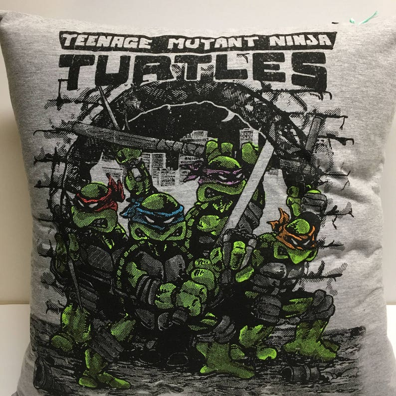 Cartoon turtles T-Shirt Pillow 16x16 Upcycled One of a Kind image 0