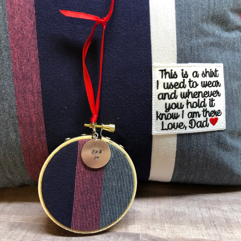 Handstamped Christmas Ornament custom made from the shirt of a image 0