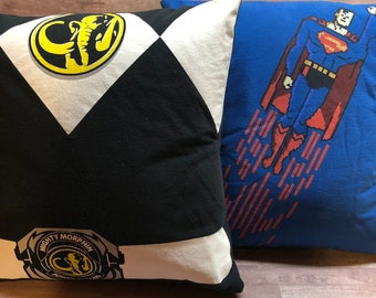 Lot of 2 Superhero Superheroes T-Shirt Pillows 16x16 Upcycled One of a Kind