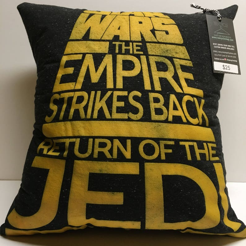 Galactic Battle T-Shirt Pillow 16x16 Upcycled One of a Kind image 0