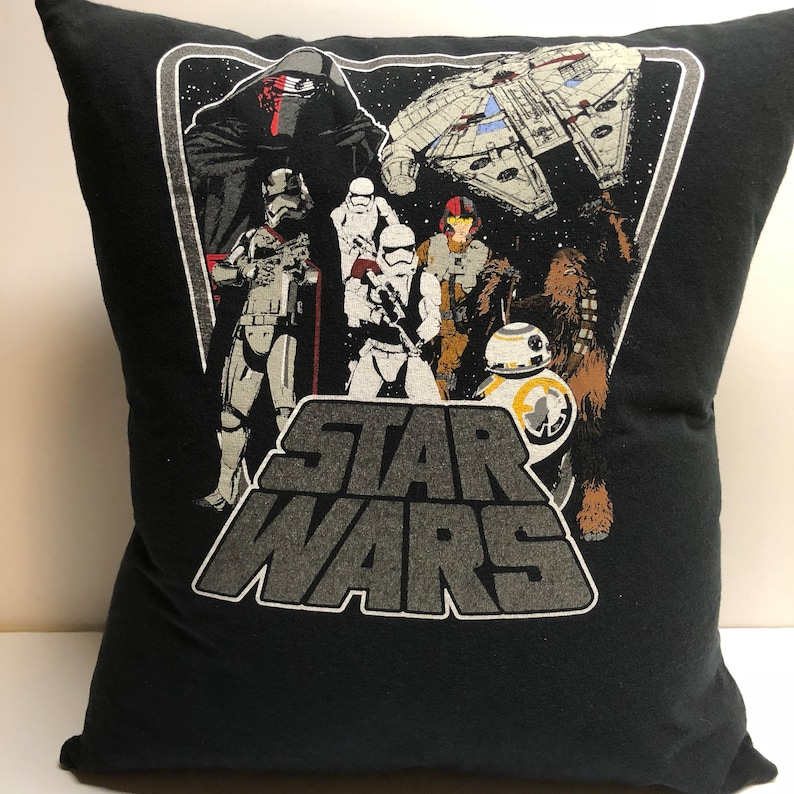 Galactic Battle T-Shirt Pillow 15x16 Upcycled One of a Kind image 0