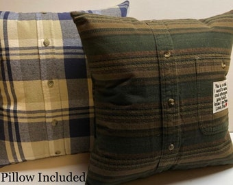 Memory Pillow // Memory Pillow from shirt // pillow form included and optional patch // Handmade Keepsake Pillow