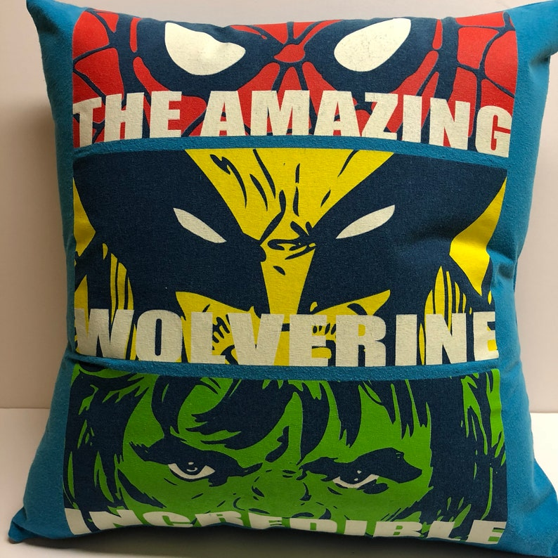 Superheroes  T-Shirt Pillow 16x16 Upcycled One of a Kind image 0