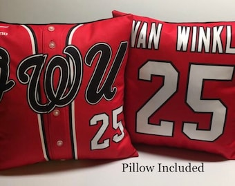 Jersey Memory Pillow with pillow form included. Pillow handmade from your jersey or the shirt of a loved one. Makes the perfect gift.