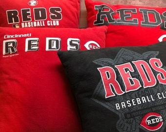 Lot of 4 Cincinnati, Ohio Baseball T-Shirt Pillows 16x16 Upcycled One of a Kind
