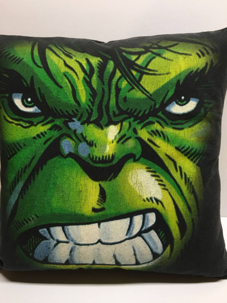 Green Man Superhero glitter  T-Shirt Pillow 16x16 Upcycled One image 0