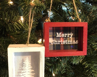 Keepsake Shadow Box Memory Christmas Ornament Custom made from the shirt of a loved one. Makes the perfect gift.